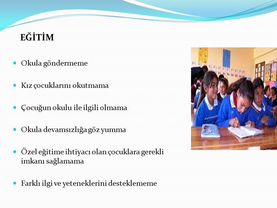 EĞİTİM Okula göndermeme Kız çocuklarını okutmama Çocuğun okulu ile ilgili olmama Okula devamsızlığa göz yumma Özel eğitime ihtiyacı olan çocuklara gerekli imkanı sağlamama Farklı ilgi ve yeteneklerini desteklememe