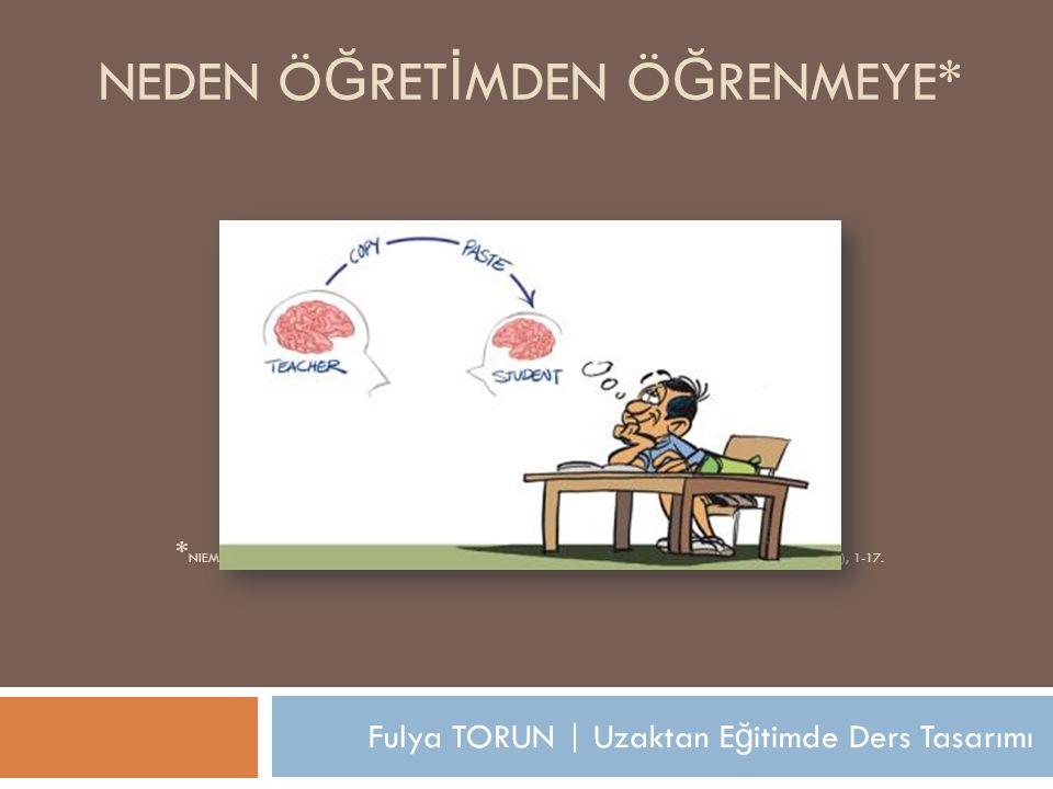 Fulya TORUN | Uzaktan E ğ itimde Ders Tasarımı NEDEN Ö Ğ RET İ MDEN Ö Ğ RENMEYE* * NIEMI, H. (2009). WHY FROM TEACHING TO LEARNING? EUROPEAN EDUCATION