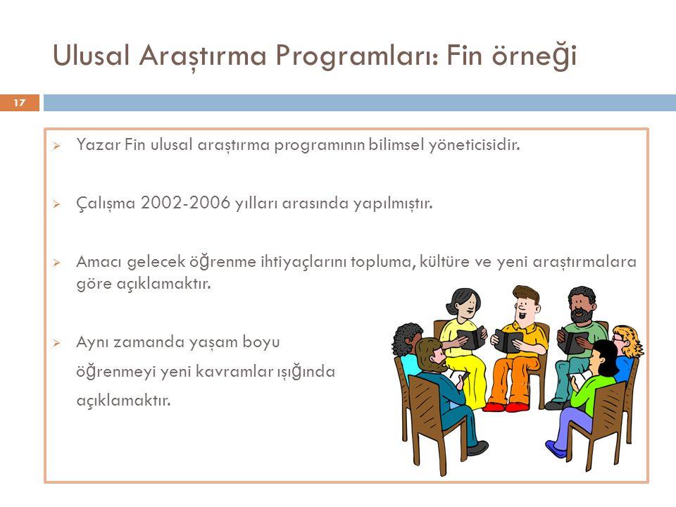Ulusal Araştırma Programları: Fin örne ğ i  Yazar Fin ulusal araştırma programının bilimsel yöneticisidir.  Çalışma 2002-2006 yılları arasında yapıl