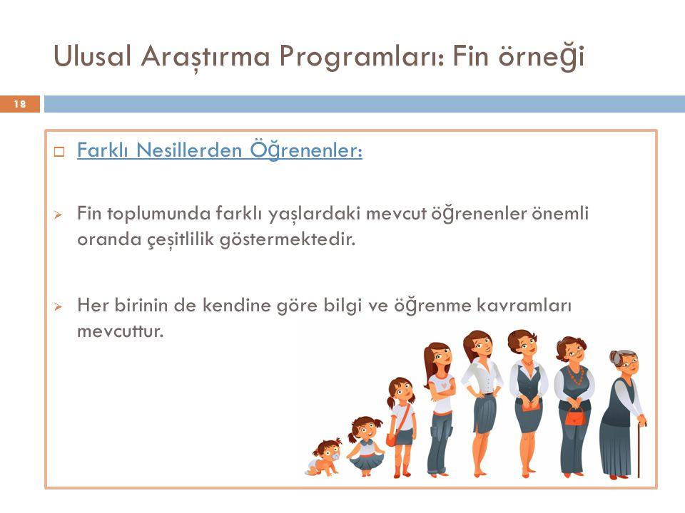 Ulusal Araştırma Programları: Fin örne ğ i  Farklı Nesillerden Ö ğ renenler:  Fin toplumunda farklı yaşlardaki mevcut ö ğ renenler önemli oranda çeşitlilik göstermektedir.