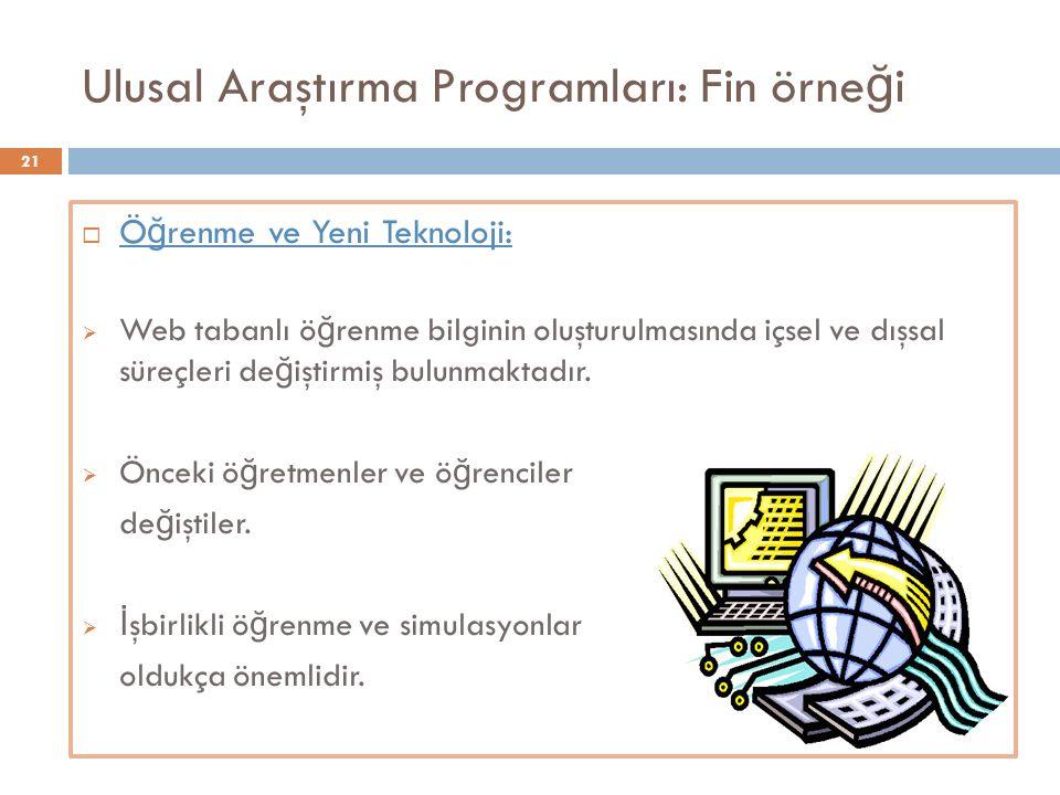Ulusal Araştırma Programları: Fin örne ğ i  Ö ğ renme ve Yeni Teknoloji:  Web tabanlı ö ğ renme bilginin oluşturulmasında içsel ve dışsal süreçleri de ğ iştirmiş bulunmaktadır.