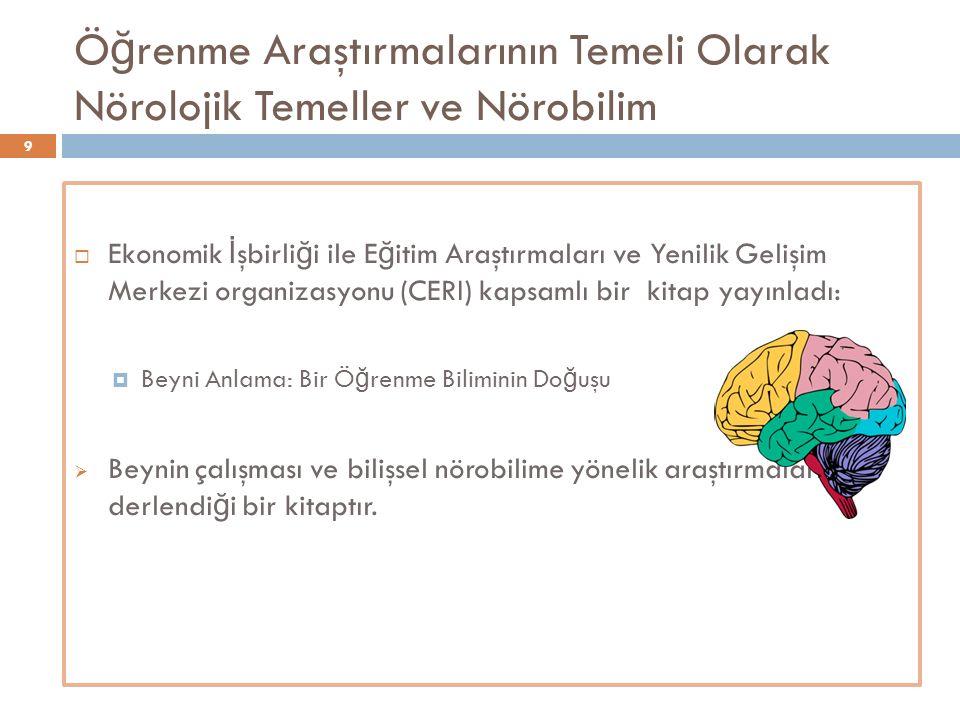 Ö ğ renme Araştırmalarının Temeli Olarak Nörolojik Temeller ve Nörobilim  Ekonomik İ şbirli ğ i ile E ğ itim Araştırmaları ve Yenilik Gelişim Merkezi
