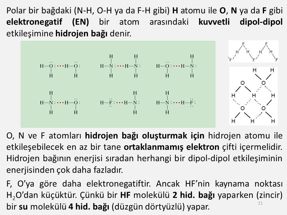 Polar bir bağdaki (N-H, O-H ya da F-H gibi) H atomu ile O, N ya da F gibi elektronegatif (EN) bir atom arasındaki kuvvetli dipol-dipol etkileşimine hi