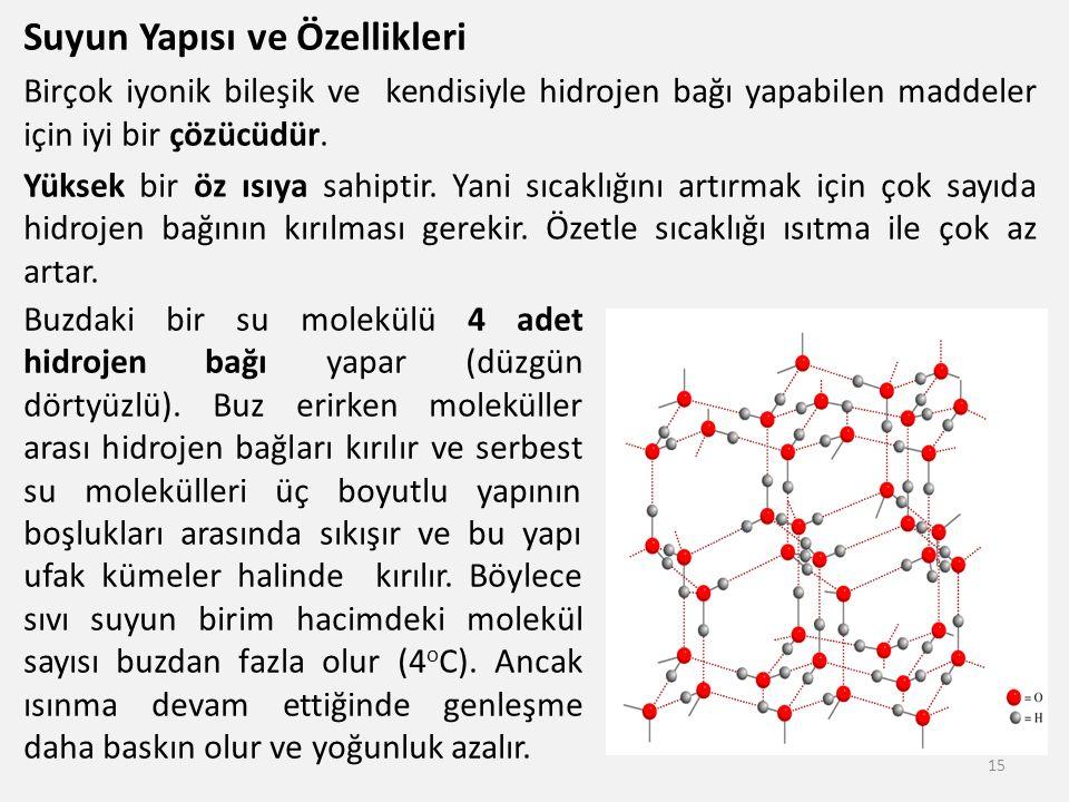 Suyun Yapısı ve Özellikleri Birçok iyonik bileşik ve kendisiyle hidrojen bağı yapabilen maddeler için iyi bir çözücüdür. Yüksek bir öz ısıya sahiptir.