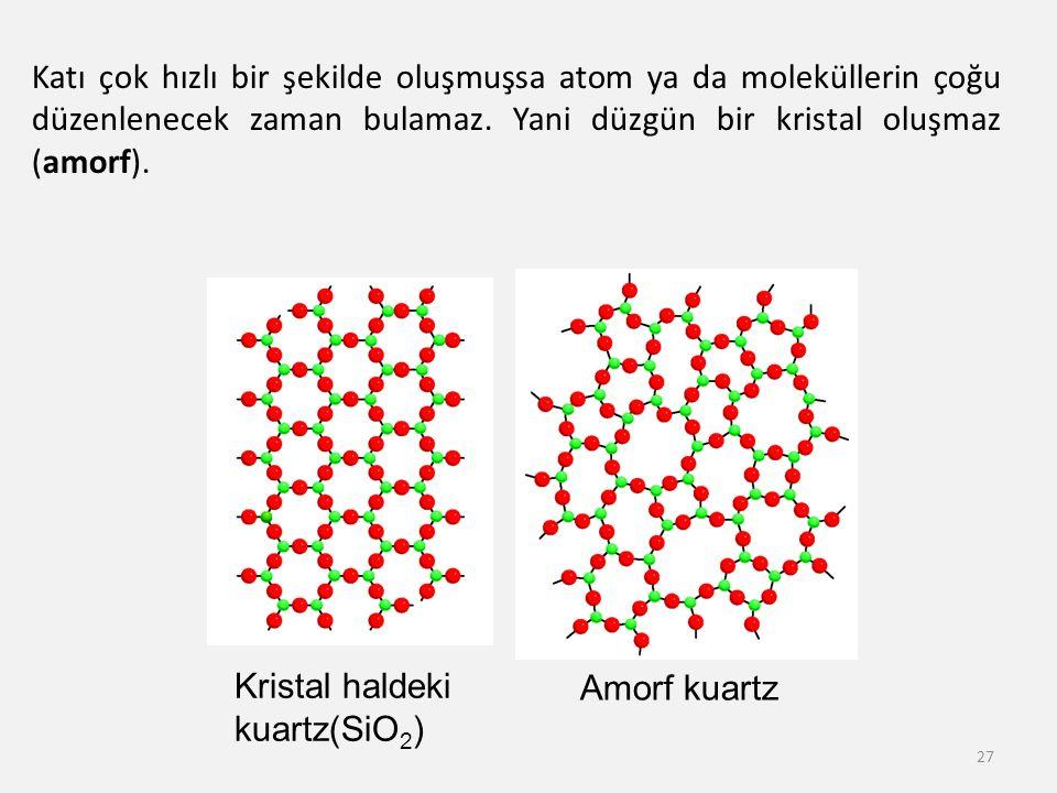 27 Kristal haldeki kuartz(SiO 2 ) Amorf kuartz Katı çok hızlı bir şekilde oluşmuşsa atom ya da moleküllerin çoğu düzenlenecek zaman bulamaz. Yani düzg