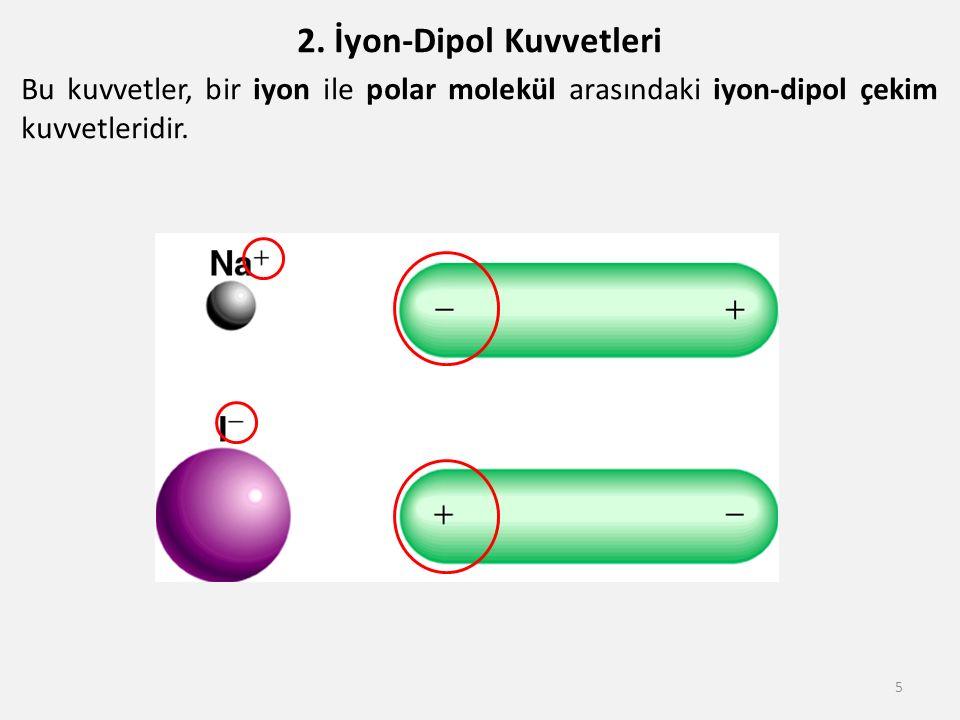 2. İyon-Dipol Kuvvetleri Bu kuvvetler, bir iyon ile polar molekül arasındaki iyon-dipol çekim kuvvetleridir. 5