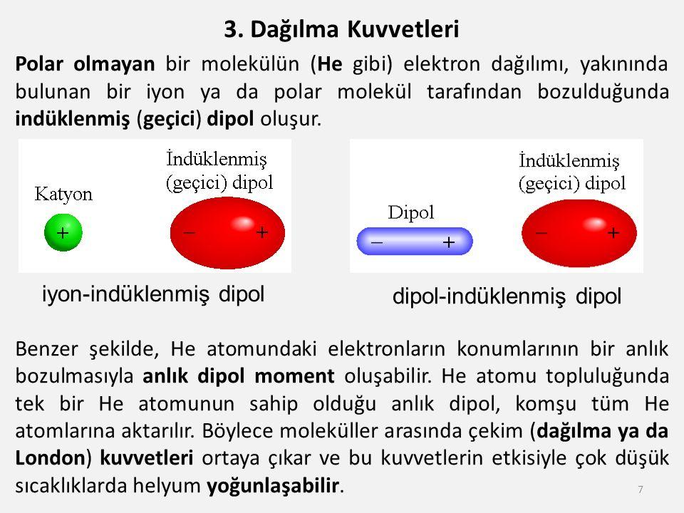 3. Dağılma Kuvvetleri Polar olmayan bir molekülün (He gibi) elektron dağılımı, yakınında bulunan bir iyon ya da polar molekül tarafından bozulduğunda