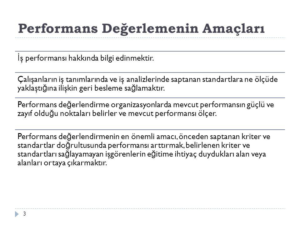 Performans Değerlemenin Yararları  Performans de ğ erleme işgörenlerin performansı hakkında bilgi verir ve yöneticilere veri sa ğ lar.