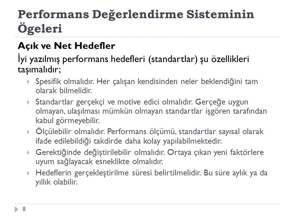 Performans Değerlendirme Süreci 1.De ğ erleme kriterlerinin oluşturulması, 2.
