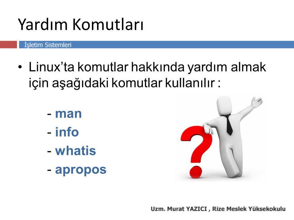 Yardım Komutları Linux'ta komutlar hakkında yardım almak için aşağıdaki komutlar kullanılır : - man - info - whatis - apropos