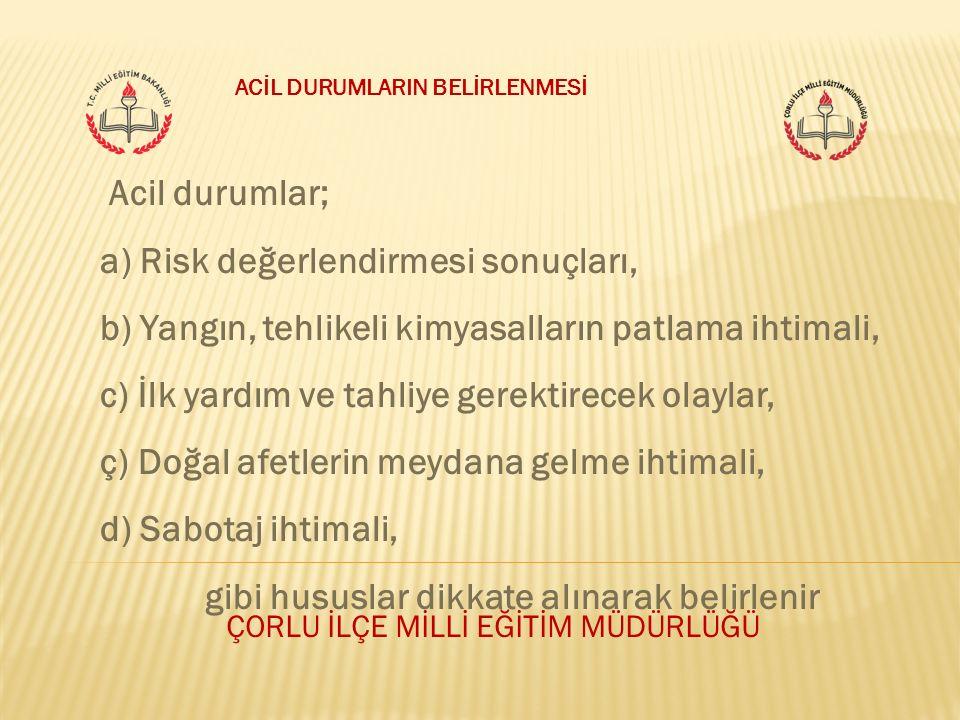 ÇORLU İLÇE MİLLİ EĞİTİM MÜDÜRLÜĞÜ Acil durumlar; a) Risk değerlendirmesi sonuçları, b) Yangın, tehlikeli kimyasalların patlama ihtimali, c) İlk yardım
