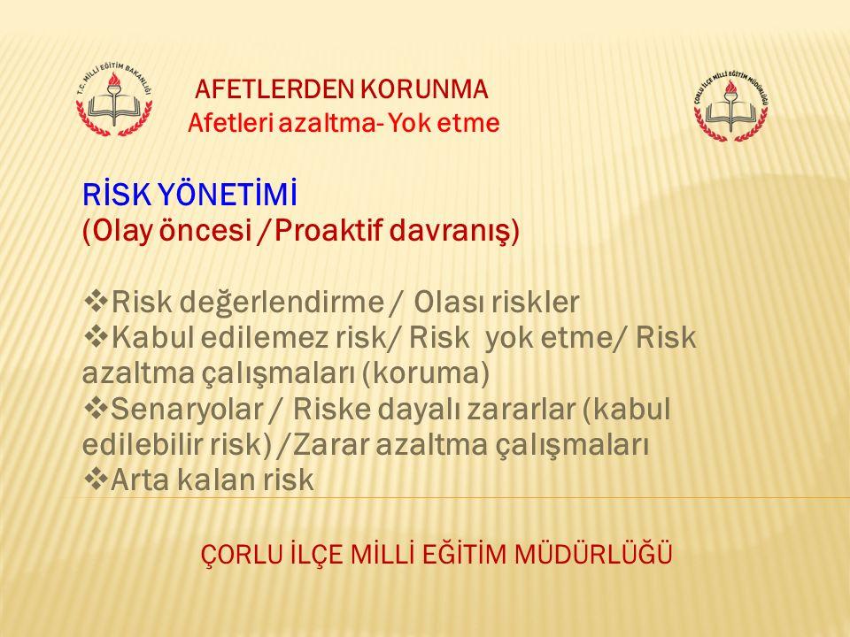 ÇORLU İLÇE MİLLİ EĞİTİM MÜDÜRLÜĞÜ AFETLERDEN KORUNMA Afetleri azaltma- Yok etme RİSK YÖNETİMİ (Olay öncesi /Proaktif davranış)  Risk değerlendirme /