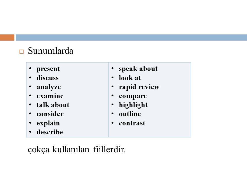  Sunumlarda çokça kullanılan fiillerdir. present discuss analyze examine talk about consider explain describe speak about look at rapid review compar