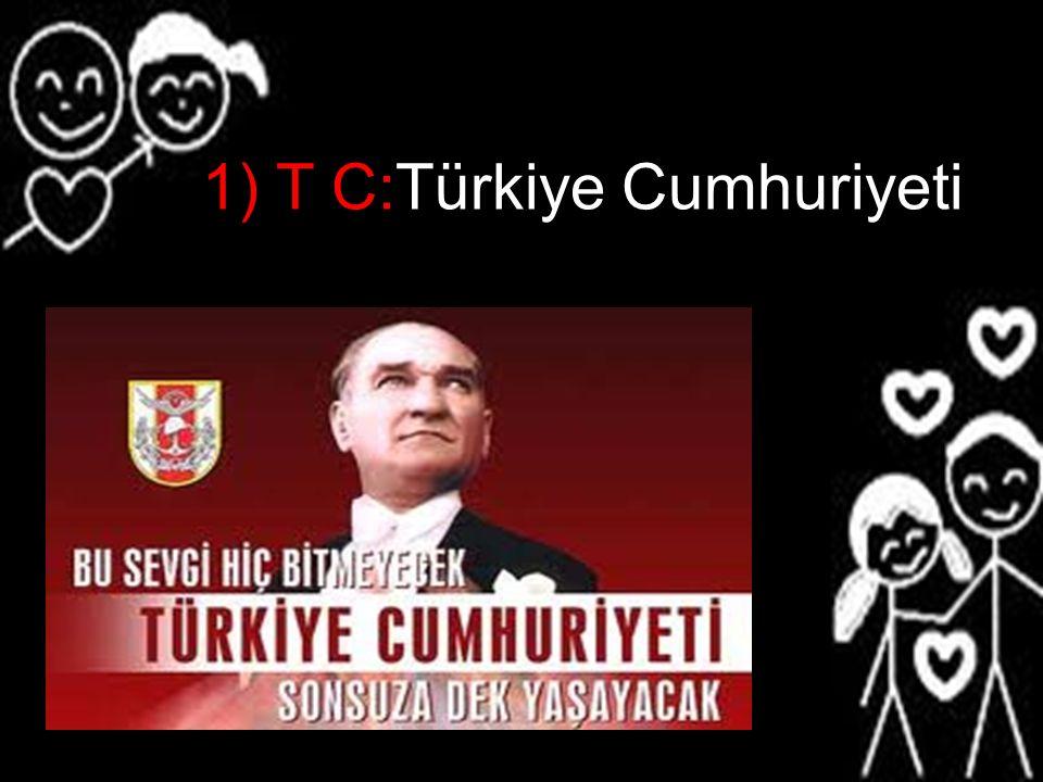1) T C:Türkiye Cumhuriyeti