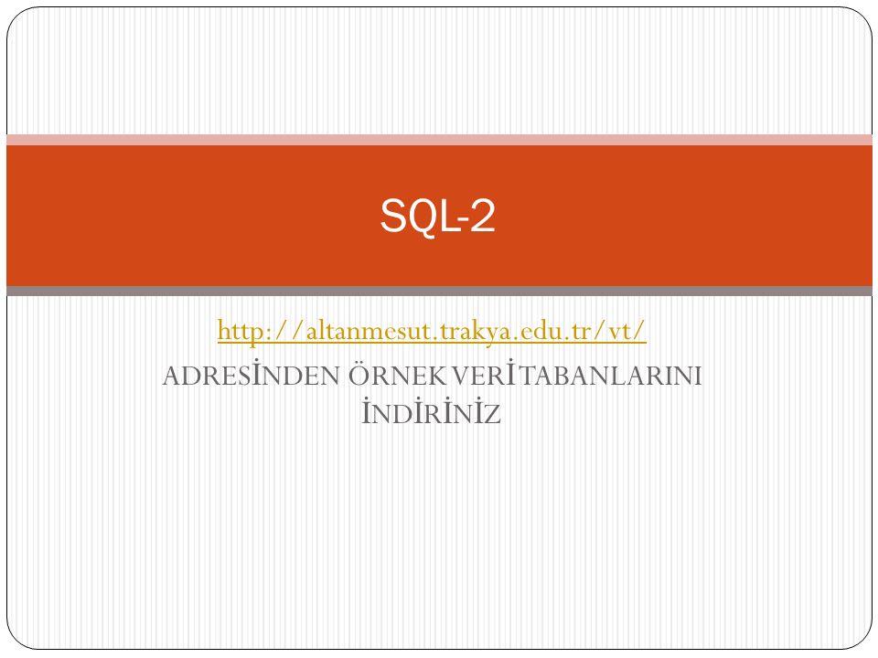 SQL – CREATE VIEW Komutu Ö ğ rencilern 2008-2009 yılında BM 111 nolu dersten aldıkları notları, ö ğ renci adlarına göre sıralatan bir view olu ş turunuz; CREATE view BM111_dersi SELECT ad, soyad,ders_yılı, ders_kodu FROM ogrenciler, notlar WHERE ö ğ renci.no=notlar.no Access de çalışmıyor….
