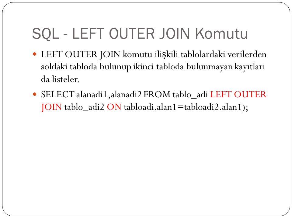 SQL - LEFT OUTER JOIN Komutu LEFT OUTER JOIN komutu ili ş kili tablolardaki verilerden soldaki tabloda bulunup ikinci tabloda bulunmayan kayıtları da