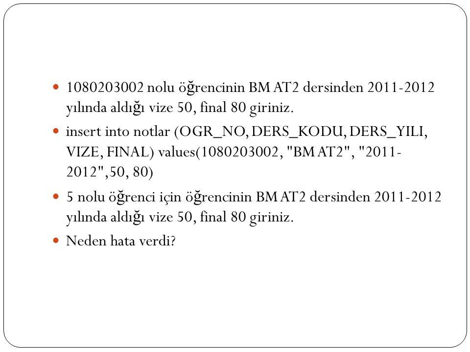 1080203002 nolu ö ğ rencinin BM AT2 dersinden 2011-2012 yılında aldı ğ ı vize 50, final 80 giriniz. insert into notlar (OGR_NO, DERS_KODU, DERS_YILI,