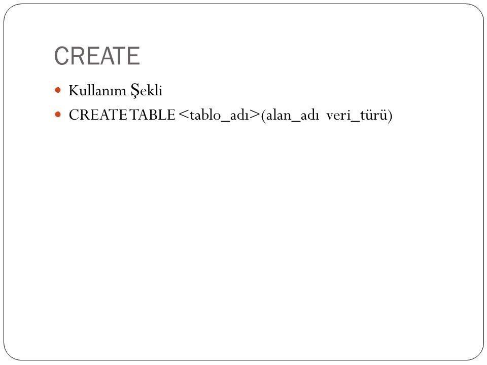 CREATE Kullanım Ş ekli CREATE TABLE (alan_adı veri_türü)