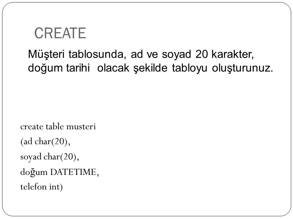 CREATE create table musteri (ad char(20), soyad char(20), do ğ um DATETIME, telefon int) Müşteri tablosunda, ad ve soyad 20 karakter, doğum tarihi ola