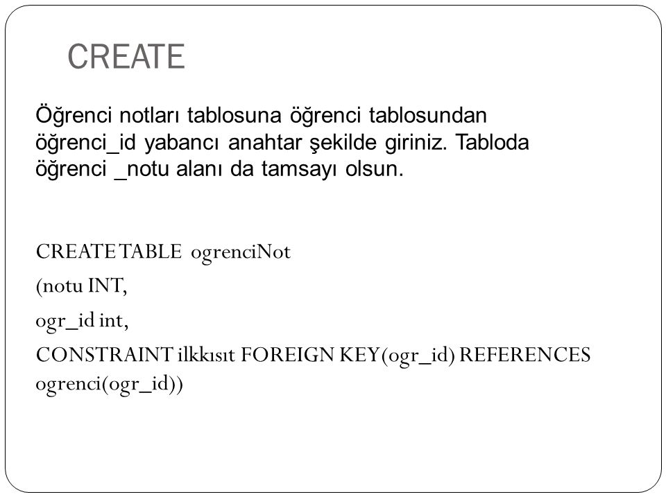 CREATE CREATE TABLE ogrenciNot (notu INT, ogr_id int, CONSTRAINT ilkkısıt FOREIGN KEY(ogr_id) REFERENCES ogrenci(ogr_id)) Öğrenci notları tablosuna öğ