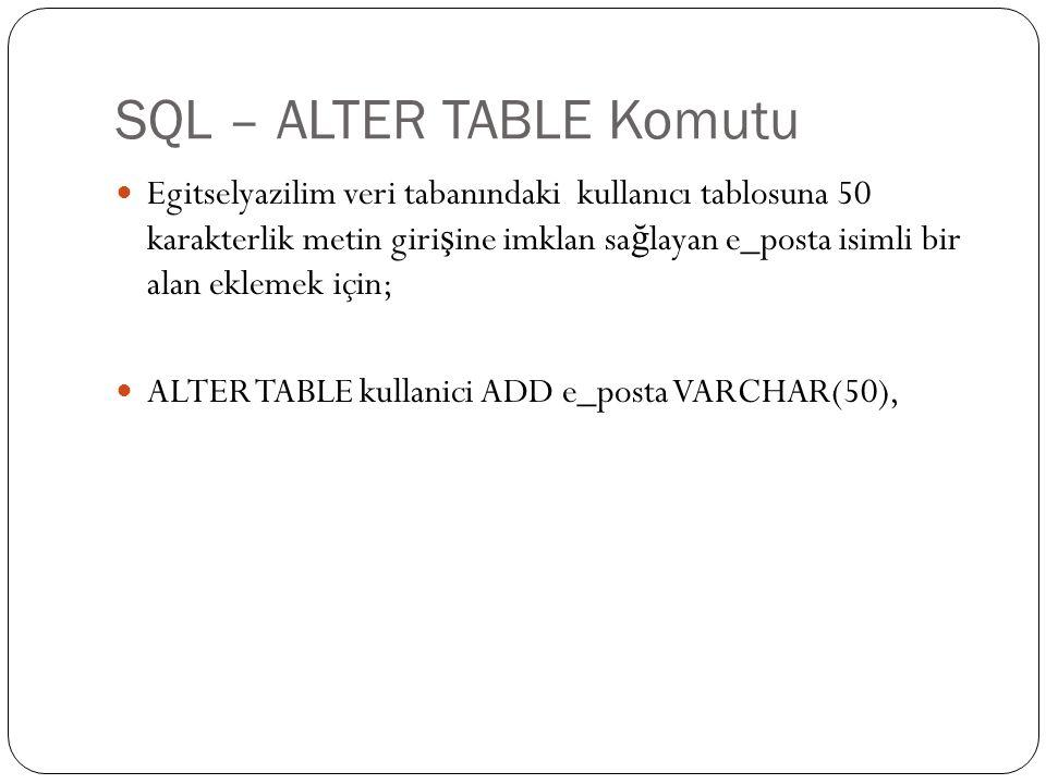 SQL – ALTER TABLE Komutu Egitselyazilim veri tabanındaki kullanıcı tablosuna 50 karakterlik metin giri ş ine imklan sa ğ layan e_posta isimli bir alan