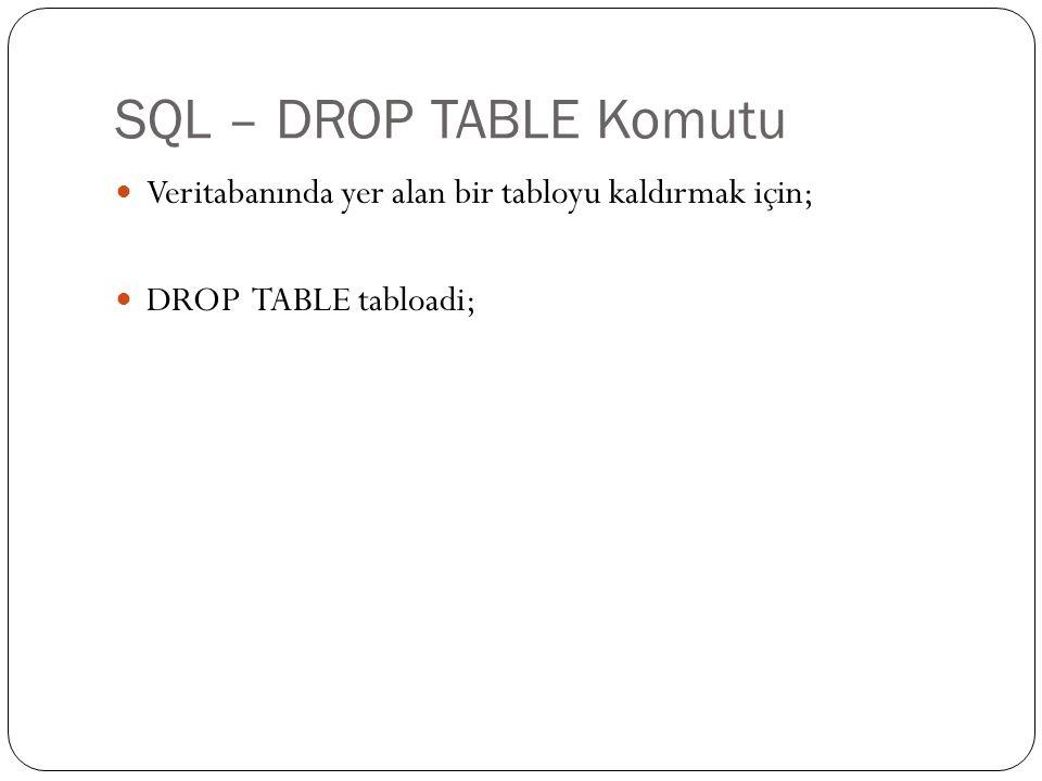 SQL – DROP TABLE Komutu Veritabanında yer alan bir tabloyu kaldırmak için; DROP TABLE tabloadi;