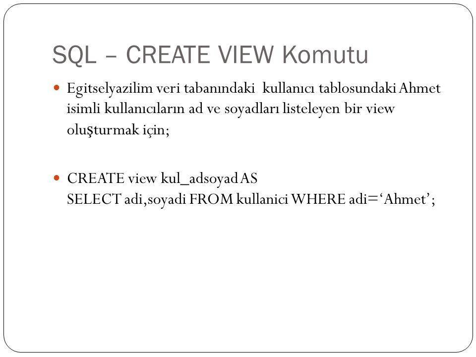 SQL – CREATE VIEW Komutu Egitselyazilim veri tabanındaki kullanıcı tablosundaki Ahmet isimli kullanıcıların ad ve soyadları listeleyen bir view olu ş