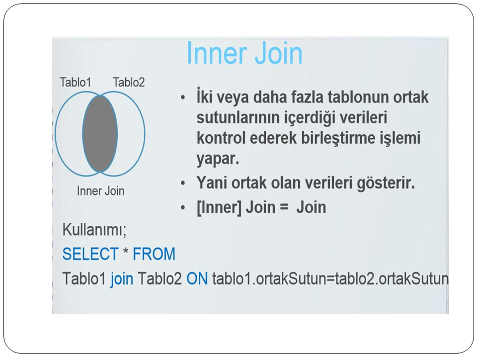 SQL – ALTER TABLE Komutu Tabloya alan ekleme, varolan alanı düzenleme ve silmek için ALTER TABLE komutu kullanılır, ALTER TABLE tablo_adi ADD alan_adi alan_turu; ALTER TABLE tablo_adi ALTER COLUMN alan_adi alan_turu; ALTER TABLE tablo_adi DROP COLUMN alan_adi;