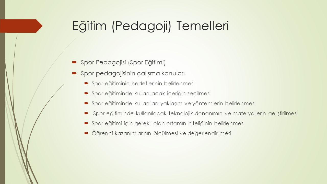 Eğitim (Pedagoji) Temelleri  Spor Pedagojisi (Spor Eğitimi)  Spor pedagojisinin çalışma konuları  Spor eğitiminin hedeflerinin belirlenmesi  Spor