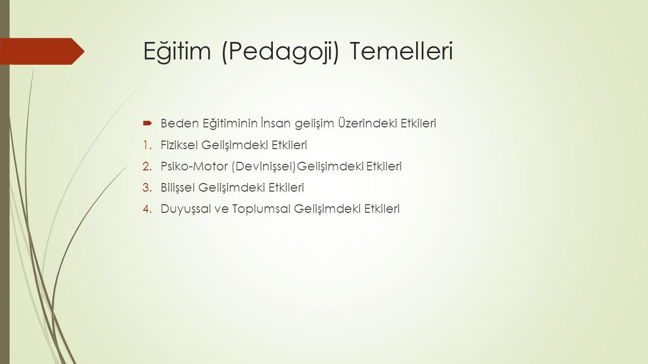 Eğitim (Pedagoji) Temelleri  Beden Eğitiminin İnsan gelişim Üzerindeki Etkileri 1.Fiziksel Gelişimdeki Etkileri 2.Psiko-Motor (Devinişsel)Gelişimdeki Etkileri 3.Bilişsel Gelişimdeki Etkileri 4.Duyuşsal ve Toplumsal Gelişimdeki Etkileri