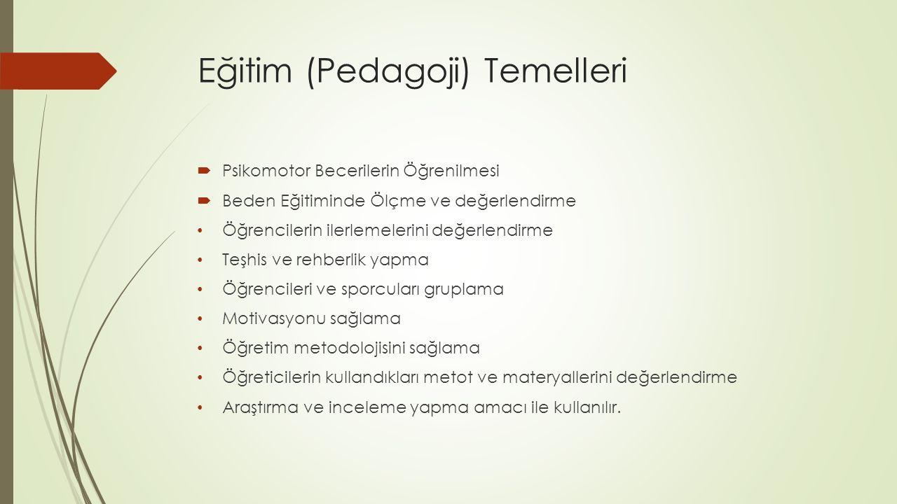 Eğitim (Pedagoji) Temelleri  Psikomotor Becerilerin Öğrenilmesi  Beden Eğitiminde Ölçme ve değerlendirme Öğrencilerin ilerlemelerini değerlendirme T