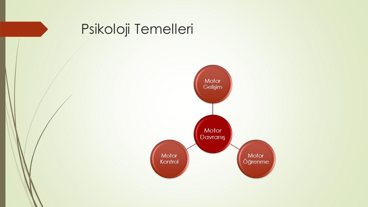 Psikoloji Temelleri Motor Davranış Motor Gelişim Motor Öğrenme Motor Kontrol