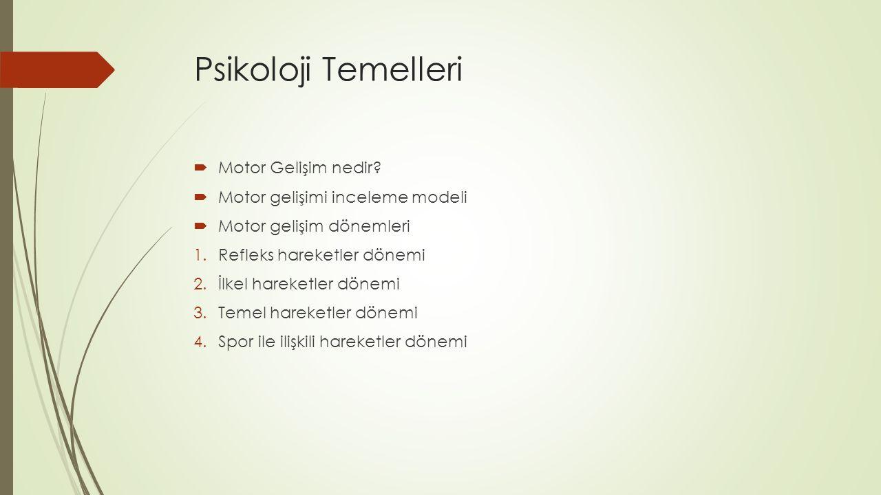 Psikoloji Temelleri  Motor Gelişim nedir?  Motor gelişimi inceleme modeli  Motor gelişim dönemleri 1.Refleks hareketler dönemi 2.İlkel hareketler d