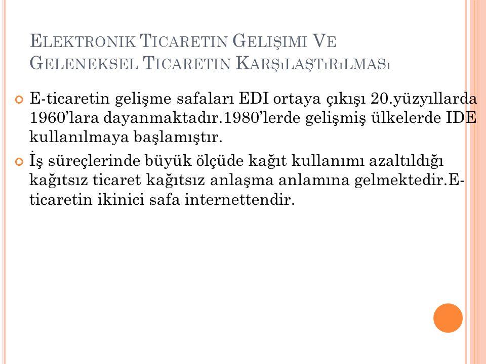 E LEKTRONIK T ICARETIN G ELIŞIMI V E G ELENEKSEL T ICARETIN K ARŞıLAŞTıRıLMASı E-ticaretin gelişme safaları EDI ortaya çıkışı 20.yüzyıllarda 1960'lara dayanmaktadır.1980'lerde gelişmiş ülkelerde IDE kullanılmaya başlamıştır.