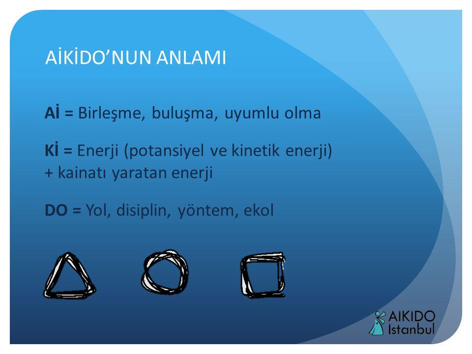 AİKİDO'NUN ANLAMI Aİ = Birleşme, buluşma, uyumlu olma Kİ = Enerji (potansiyel ve kinetik enerji) + kainatı yaratan enerji DO = Yol, disiplin, yöntem,