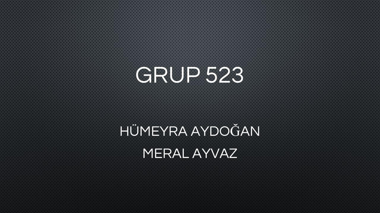 GRUP 523 HÜMEYRA AYDO Ğ AN MERAL AYVAZ