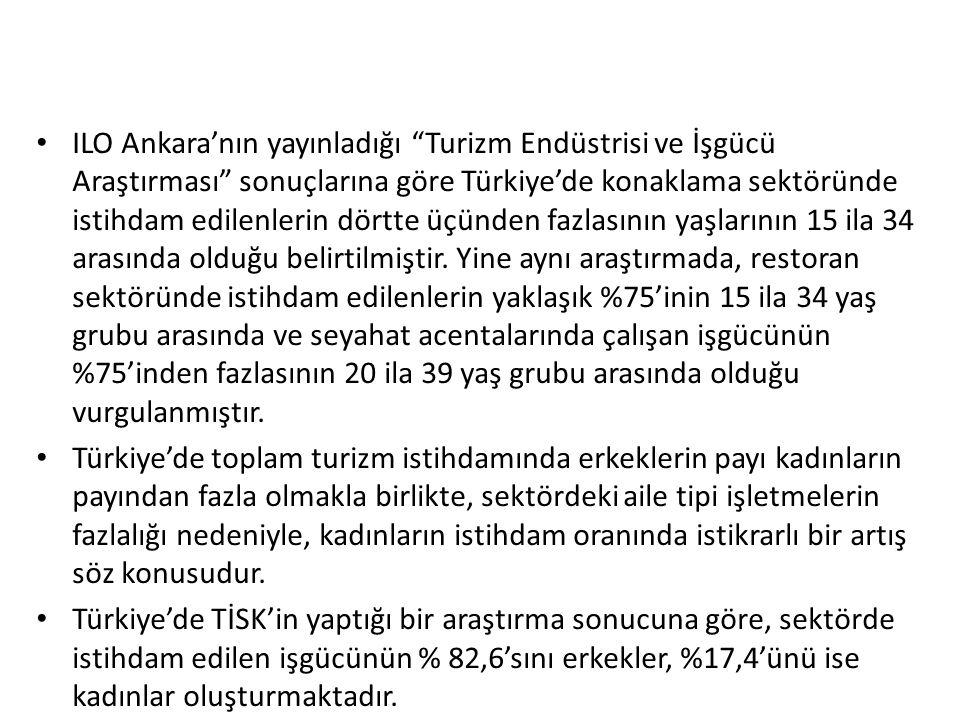 """ILO Ankara'nın yayınladığı """"Turizm Endüstrisi ve İşgücü Araştırması"""" sonuçlarına göre Türkiye'de konaklama sektöründe istihdam edilenlerin dörtte üçün"""