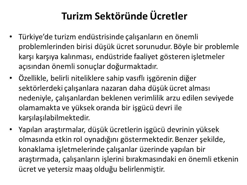 Turizm Sektöründe Ücretler Türkiye'de turizm endüstrisinde çalışanların en önemli problemlerinden birisi düşük ücret sorunudur. Böyle bir problemle ka