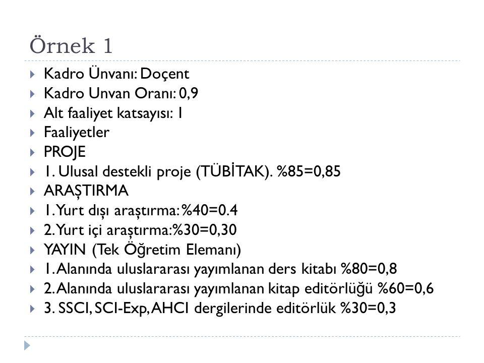 Örnek 1  Kadro Ünvanı: Doçent  Kadro Unvan Oranı: 0,9  Alt faaliyet katsayısı: 1  Faaliyetler  PROJE  1. Ulusal destekli proje (TÜB İ TAK). %85=