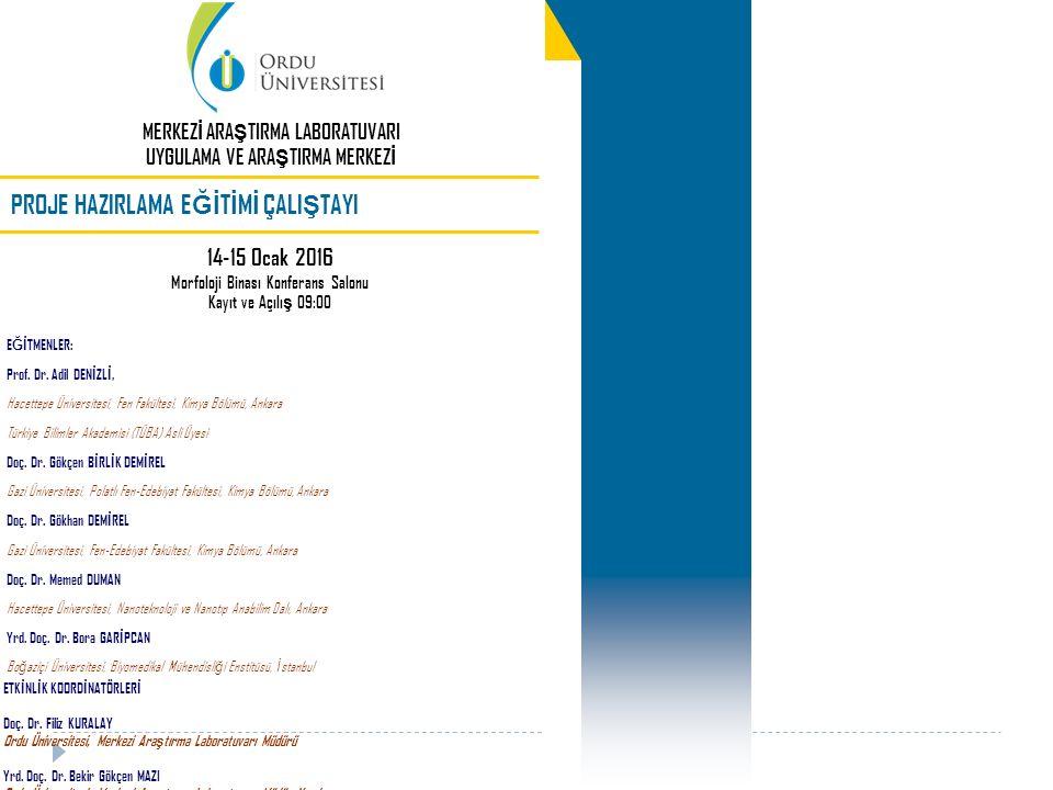 E Ğİ TMENLER: Prof. Dr. Adil DEN İ ZL İ, Hacettepe Üniversitesi, Fen Fakültesi, Kimya Bölümü, Ankara Türkiye Bilimler Akademisi (TÜBA) Asli Üyesi Doç.