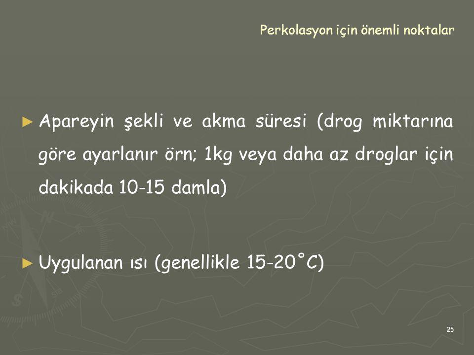 25 Perkolasyon için önemli noktalar ► ► Apareyin şekli ve akma süresi (drog miktarına göre ayarlanır örn; 1kg veya daha az droglar için dakikada 10-15