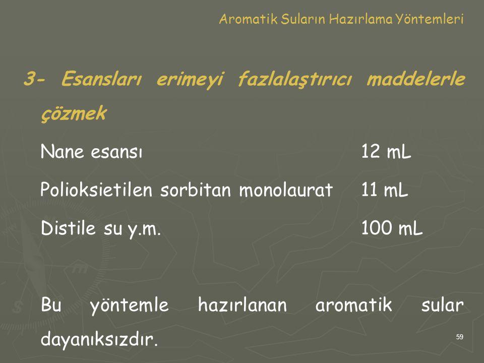59 Aromatik Suların Hazırlama Yöntemleri 3- Esansları erimeyi fazlalaştırıcı maddelerle çözmek Nane esansı12 mL Polioksietilen sorbitan monolaurat11 m