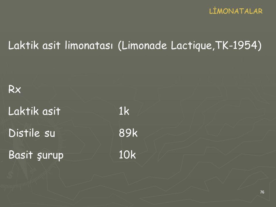 76 LİMONATALAR Laktik asit limonatası (Limonade Lactique,TK-1954) Rx Laktik asit1k Distile su89k Basit şurup10k