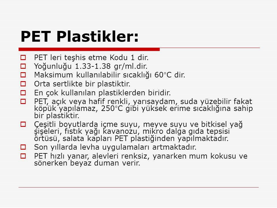 PET Plastikler:  PET leri teşhis etme Kodu 1 dir.