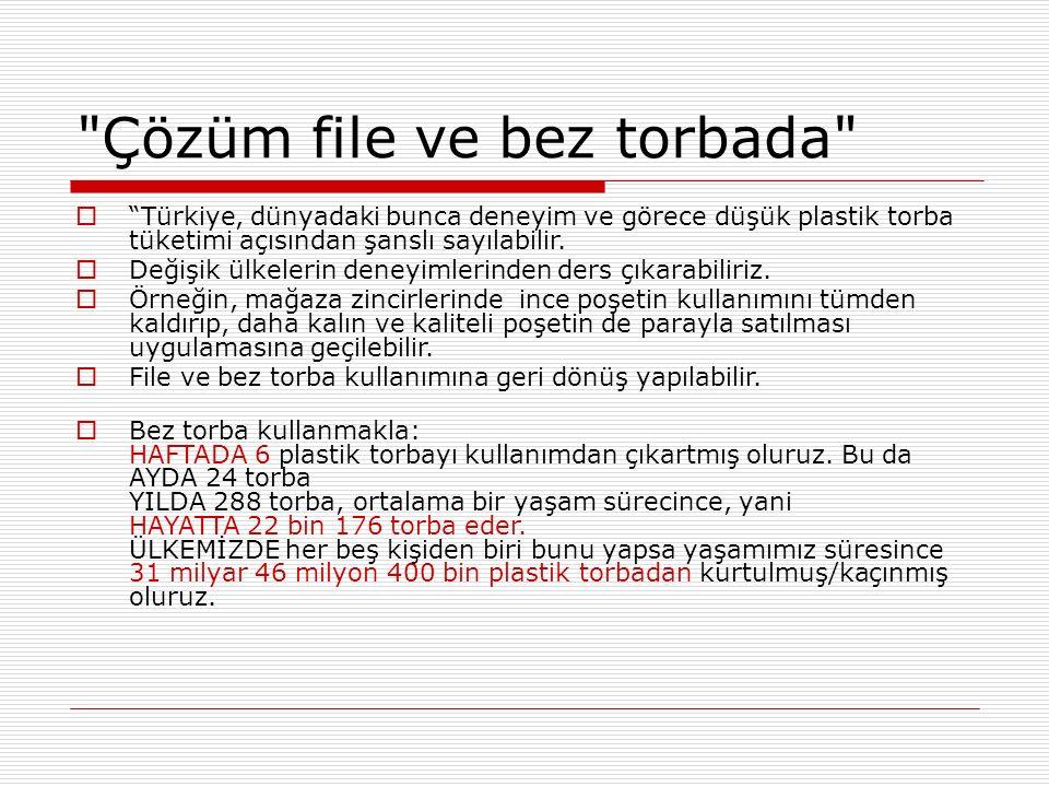 Çözüm file ve bez torbada  Türkiye, dünyadaki bunca deneyim ve görece düşük plastik torba tüketimi açısından şanslı sayılabilir.