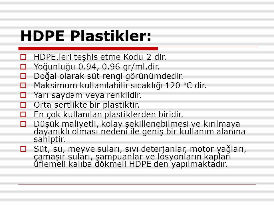 HDPE Plastikler:  HDPE.leri teşhis etme Kodu 2 dir.