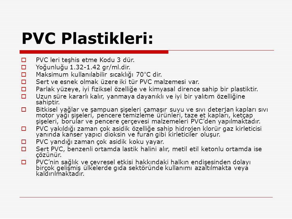 PVC Plastikleri:  PVC leri teşhis etme Kodu 3 dür.