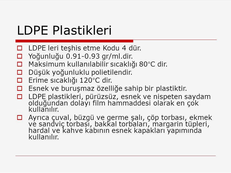 LDPE Plastikleri  LDPE leri teşhis etme Kodu 4 dür.