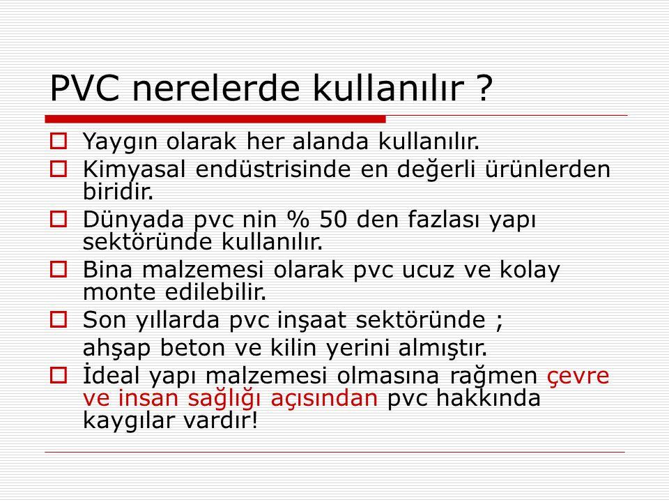 PVC nerelerde kullanılır .  Yaygın olarak her alanda kullanılır.