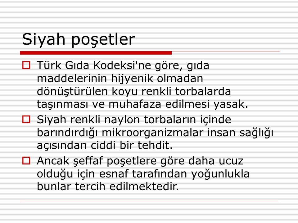 Siyah poşetler  Türk Gıda Kodeksi ne göre, gıda maddelerinin hijyenik olmadan dönüştürülen koyu renkli torbalarda taşınması ve muhafaza edilmesi yasak.
